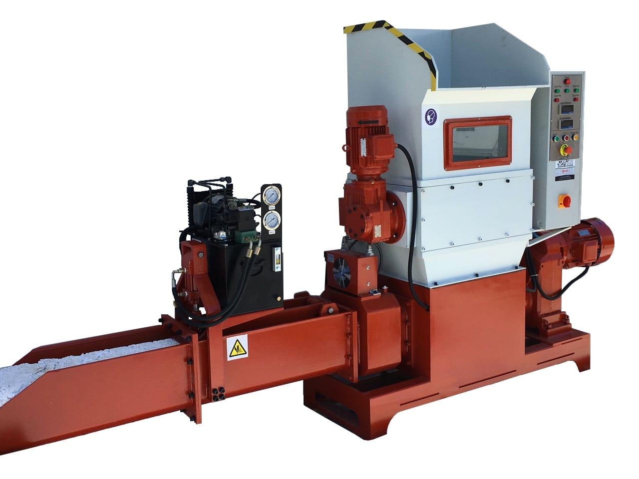 COMPATTATORE DI EPS (POLISTIROLO) ECOMAKK Modello CP250, Produzione 70-100 Kg/h, Norme CE.